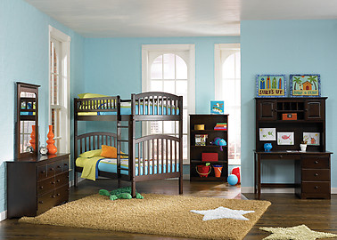 Atlantic Furniture Richland Bunk Bed Twin over Twin Antique Walnut