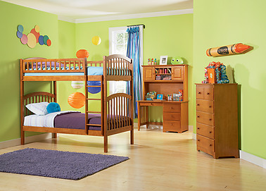 Atlantic Furniture Richland Bunk Bed Twin over Twin Caramel Latte