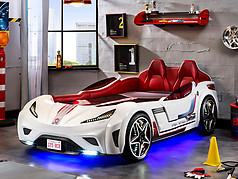 Cilek GTS Twin Race Car Bed White
