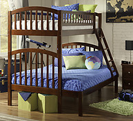 Atlantic Furniture Richland Bunk Bed Twin over Full Antique Walnut