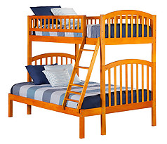 Atlantic Furniture Richland Bunk Bed Twin over Full Caramel Latte