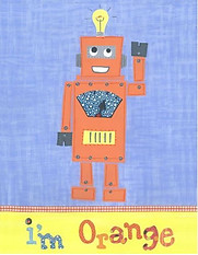 Little Acorn I'm Orange Robot Wall Art