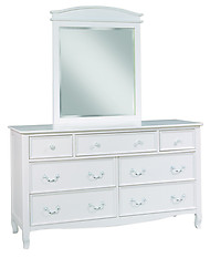 Bolton Furniture Emma 7 Drawer Dresser with Mirror Set White