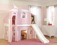 Bolton Furniture Cottage Twin Low Loft Bed, White, with Pink/White Tower, Top Tent Bottom Playhouse Curtain and Slide