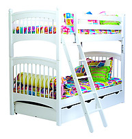 Bolton Furniture Essex Windsor Twin Bunk Bed with Two Underbed Storage Drawers White