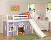 Bolton Furniture Windsor Twin Low Loft, White, with Lilac/White Bottom Playhouse Curtain and Slide