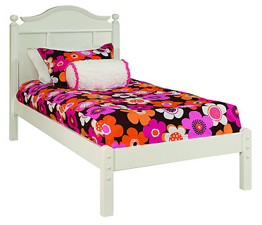 Bolton Furniture Emma Twin Bed with Tall Headboard and Low Footboard White