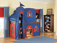 Bolton Furniture Mission Twin Low Loft Bed, Cherry, with Blue/Red Top Tent, Bottom Playhouse Curtain