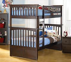 Atlantic Furniture Columbia Bunk Bed Twin over Twin Antique Walnut