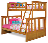 Atlantic Furniture Columbia Bunk Bed Twin over Full Caramel Latte
