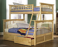 Atlantic Furniture Columbia Bunk Bed Twin over Full Natural Maple