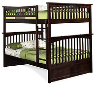 Atlantic Furniture Columbia Bunk Bed Full over Full Antique Walnut