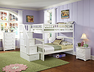 Atlantic Furniture Columbia Stair Bunk Bed Twin Over Twin White