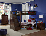 Atlantic Furniture Columbia Stair Bunk Bed Twin Over Twin Antique Walnut