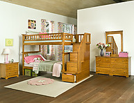 Atlantic Furniture Columbia Stair Bunk Bed Twin Over Twin Caramel Latte
