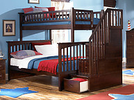 Atlantic Furniture Columbia Stair Bunk Bed Twin Over Full Antique Walnut
