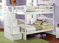 Atlantic Furniture Columbia Stair Bunk Bed Full Over Full White