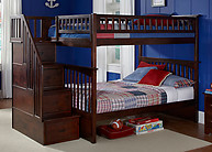 Atlantic Furniture Columbia Stair Bunk Bed Full Over Full Antique Walnut
