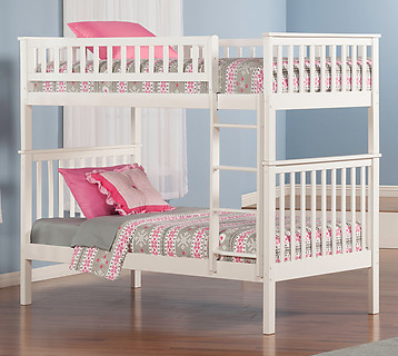 Atlantic Furniture Woodland Bunk Bed Twin over Twin White