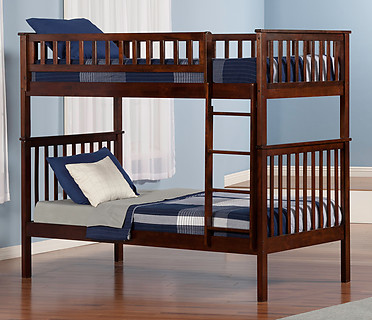 Atlantic Furniture Woodland Bunk Bed Twin over Twin Antique Walnut