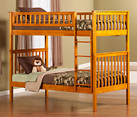 Atlantic Furniture Woodland Bunk Bed Twin over Twin Caramel Latte