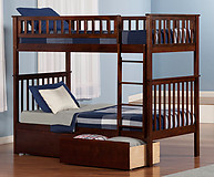 Atlantic Furniture Woodland Bunk Bed Twin over Twin Flat Panel Antique Walnut