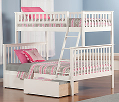 Atlantic Furniture Woodland Bunk Bed Twin over Full Flat Panel White