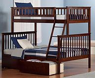 Atlantic Furniture Woodland Bunk Bed Twin over Full Flat Panel Antique Walnut