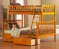 Atlantic Furniture Woodland Bunk Bed Twin over Full Flat Panel Caramel Latte