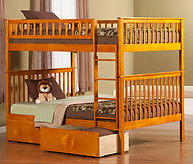 Atlantic Furniture Woodland Bunk Bed Full over Full Flat Panel Caramel Latte