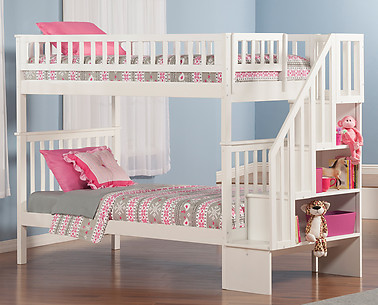 Atlantic Furniture Woodland Stair Bunk Bed Twin over Twin White