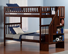 Atlantic Furniture Woodland Stair Bunk Bed Twin over Twin Antique Walnut