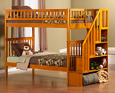 Atlantic Furniture Woodland Stair Bunk Bed Twin over Twin Caramel Latte