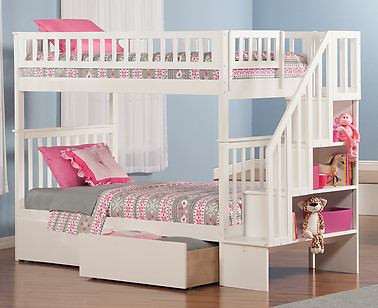 Atlantic Furniture Woodland Stair Bunk Bed Twin over Twin Flat Panel White