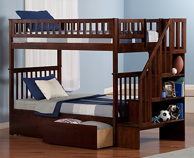 Atlantic Furniture Woodland Stair Bunk Bed Twin over Twin Flat Panel Antique Walnut