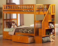 Atlantic Furniture Woodland Stair Bunk Bed Twin over Twin Flat Panel Caramel Latte