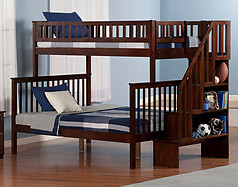 Atlantic Furniture Woodland Stair Bunk Bed Twin over Full Antique Walnut