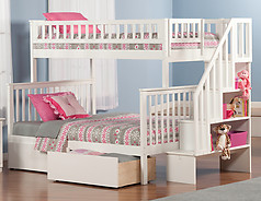 Atlantic Furniture Woodland Stair Bunk Bed Twin over Full Flat Panel White