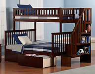 Atlantic Furniture Woodland Stair Bunk Bed Twin over Full Flat Panel Antique Walnut