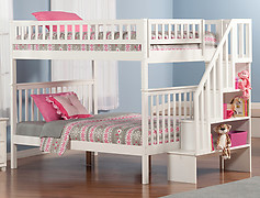 Atlantic Furniture Woodland Stair Bunk Bed Full over Full White