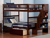 Atlantic Furniture Woodland Stair Bunk Bed Full over Full Flat Panel Antique Walnut