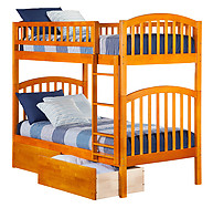 Atlantic Furniture Richland Bunk Bed Twin over Twin Flat Panel Caramel Latte