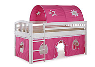 Alaterre Addison White Junior Loft Bed with Pink and White Tent and Playhouse