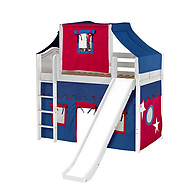 Maxtrix AWESOME 21 Mid Loft Bed with Straight Ladder, Slide, Top Tent and Underbed Curtain