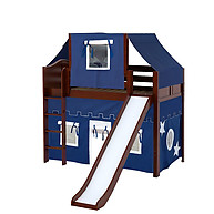 Maxtrix AWESOME 22 Mid Loft Bed with Straight Ladder, Slide, Top Tent and Underbed Curtain