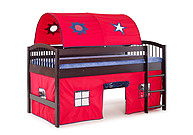 Alaterre Addison Espresso Finish Junior Loft Bed; Red Tent and Playhouse with Blue Trim