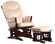 Dutailier C01-82A Gold Two Post Glider Multiposition and Ottoman Combo