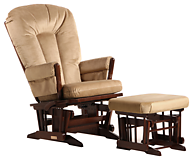 Dutailier C01-82B Gold Two Post Glider Multiposition and Ottoman Combo