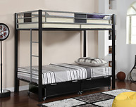 Furniture of America Clifton Bunk Bed Silver & Black