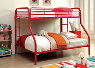 Furniture of America Rainbow Twin/Full Bunk Bed Red